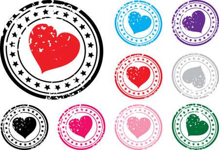 timbre postal: Sello con la imagen del corazón. Una ilustración vectorial.
