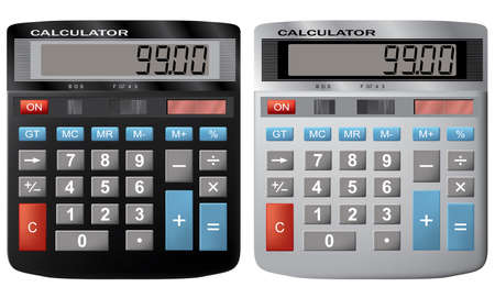 The financial calculator. A vector illustration. It is isolated on a white background.