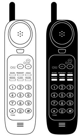 dialing: Wireless phone. Vector illustration. Isolated on white background.