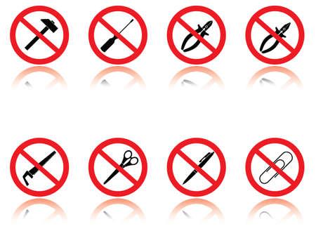 warning saw: Symbols - jokes. Vector illustration.