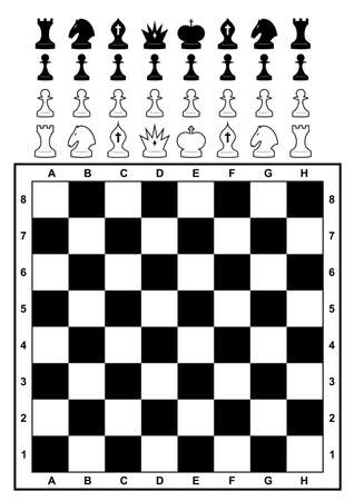 chess game: Set of chess and chessboard. Adapted for light and dark background. Vector illustration.