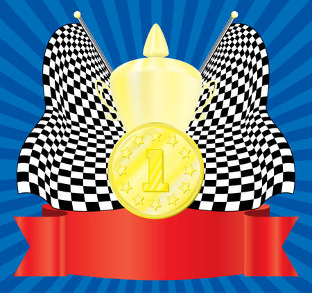 The award. 1-st position. Vector illustration. On an abstract background. Vector