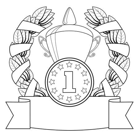 The award. 1-st position. Vector illustration. Contour on a white background. Vector