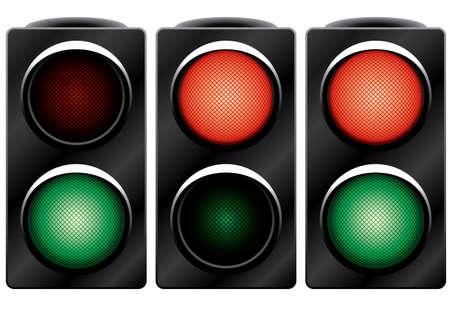 Traffic light. Variants. Vector illustration. Isolated on white background. Vector