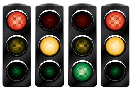 crossroads: Traffic light. Variants. Vector illustration. Isolated on white background. Illustration