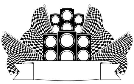 Traffic lights on finish. Vector illustration. Black-and-white contour. Vector