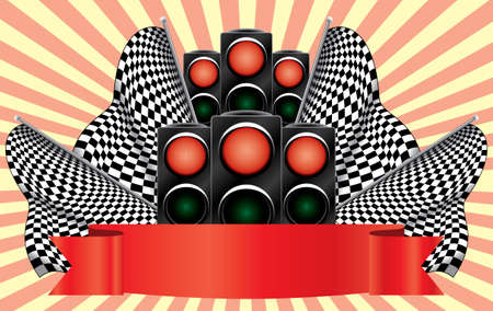 regulate: Red traffic lights on finish. Raster vector illustration. On an abstract background.