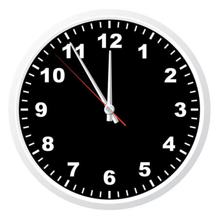 12 o'clock: Office clock. Vector illustration. Isolated on white background.