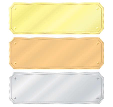 viso: Conjunto de etiquetas. Oro, plata, bronce. Ilustraci�n vectorial. Aislado sobre fondo blanco.
