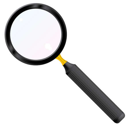 focal: Magnifying glass. Vector illustration. Isolated on white background.