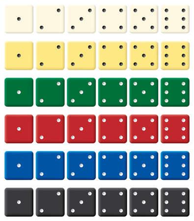 dados: Color dices conjunto. Ilustraci�n vectorial. Aislado en fondo blanco.  Vectores