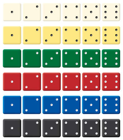 six objects: Color dices set. Vector illustration. Isolated on white background.