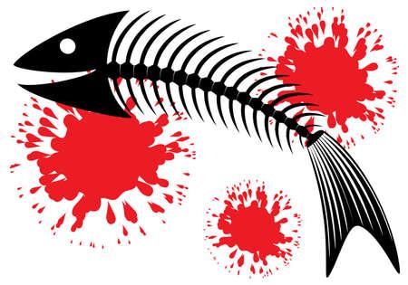 Skeleton of fish. Fun. Vector illustration. Vector