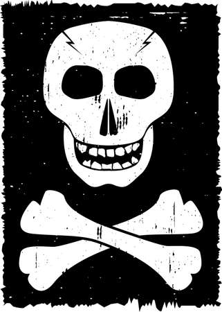 deathly: Skull and cross-bones on grunge background. Vector illustration.