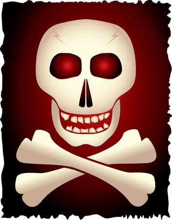 deathly: Skull and cross-bones on gradient background. Vector illustration.