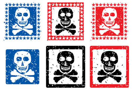 deathly: Stamp with image of skull. Vector illustration. Illustration