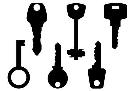 ordinary: Black-and-white contour of keys. Vector illustration.