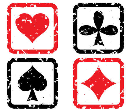 solitaire: Set of game cards. Grunge stamp. Vector illustration.