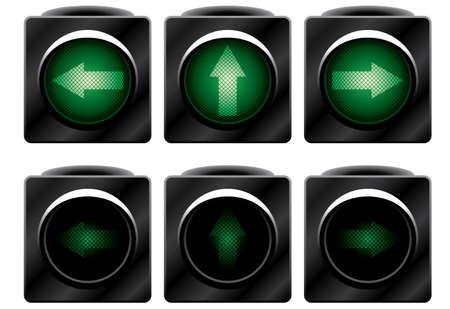 Additional traffic light. Variants. Vector illustration. Isolated on white background.