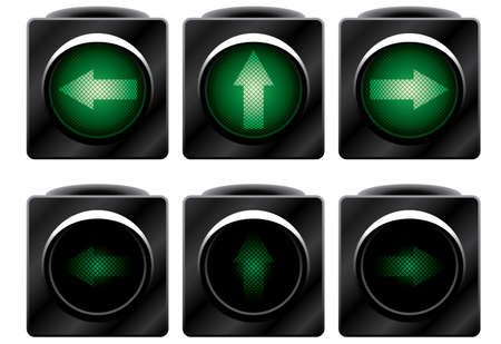 vector control illustration: Additional traffic light. Variants. Vector illustration. Isolated on white background.