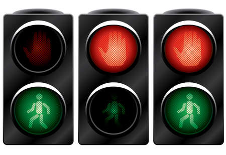 way to go: Traffic light for people. Variants. Vector illustration. Isolated on white background.