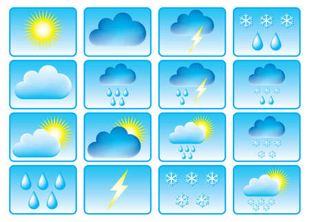 Symbols for the indication of weather. Vector illustration. Stock Vector - 2783923