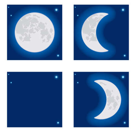 eventide: Moon phase. Vector illustration.
