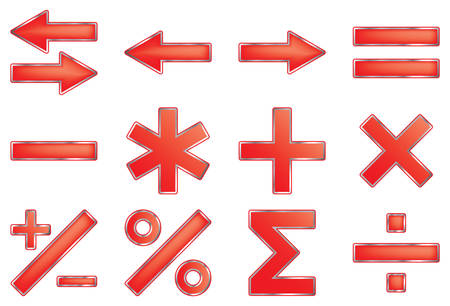 Mathematical symbols. Vector illustration. Isolated on white background. Vector