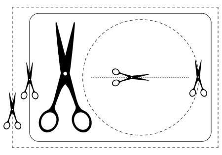 hyphen: Cornici e forbici. Illustrazione vettoriale. In bianco e nero di contorno.  Vettoriali
