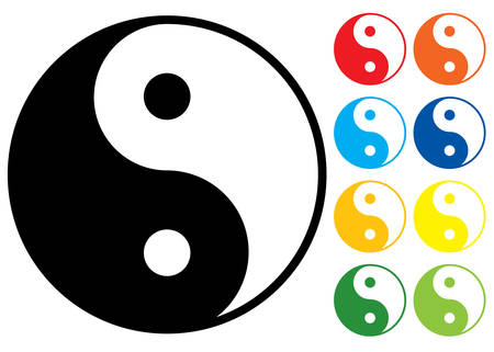 Yin and Yang symbol. Vector illustration. Colour variants. Illustration