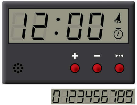 o'clock: liquid-crystal clock and digits set. Vector illustration. Isolated on white background.