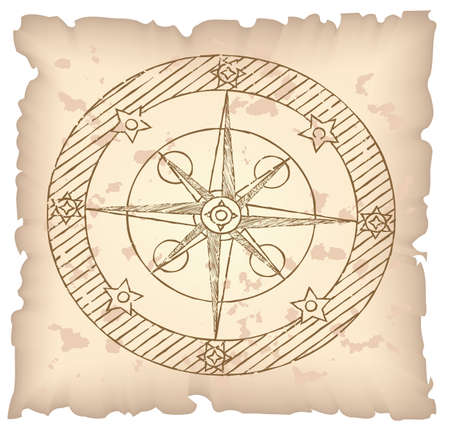 lost world: Old compass on paper background. Vector illustration.