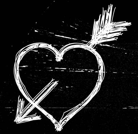 Heart symbol on black grunge background. Vector illustrations. Vector