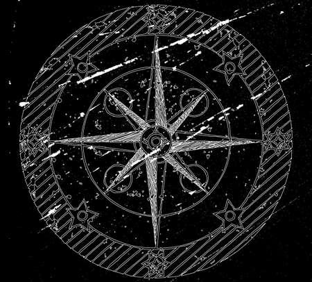 lost world: Old compass on black grunge background. Vector illustration.