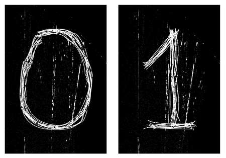negativity: Digits is scratchs. Vector illustration. Black-and-white. Illustration