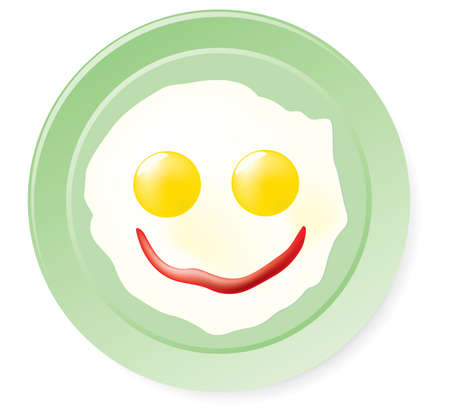 Fried eggs and ketchup in smile form. Vector illustration. Isolated on white background. Vector