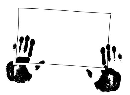finger paint: Handprints on frame. Vector illustration. Black-and-white.