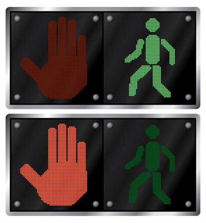 Traffic light for people. Variants. Vector illustration. Isolated on white background. Stock Vector - 3009188