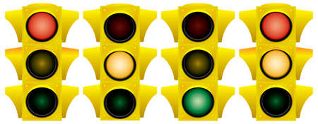 Yellow traffic light. Variants. Vector illustration. Isolated on white background. Stock Vector - 3011350