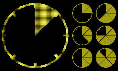 Graph gauges is luminosity tiles. Vector illustration. Yellow on black background. Vector