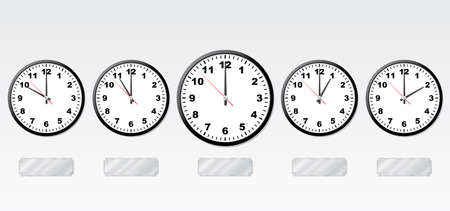 12 o'clock: Time zones. Vector illustration. Office-clocks and light-reflecting metal labels.
