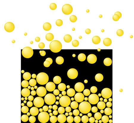 spume: Free yellow bubbles. Abstract. Vector illustration.