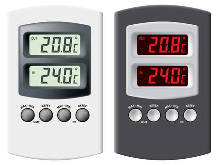 variant: Electronic thermometer. Black and silver variant. Isolated on white background. Vector illustration.
