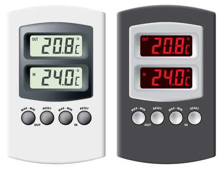 digital thermometer: Termometro elettronico. Nero e argento variante. Isolati su sfondo bianco. Illustrazione vettoriale.  Vettoriali