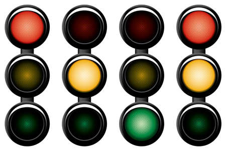 way to go: 3-sections traffic-light. Variants. Vector illustration. Isolated on white background.