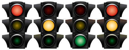 way to go: Traffic-light. Variants. Vector illustration. Isolated on white background. Illustration