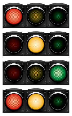 Horizontal traffic-light. Variants. Vector illustration. Isolated on white background. Illustration