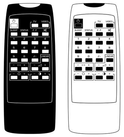 Remote control the TV. Vector illustration. Black-and-white. Isolated on white background. Vector