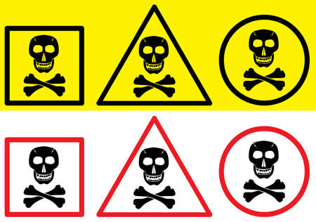 Danger label with skull symbol. Vector illustration. Two color variants. Stock Vector - 3121873