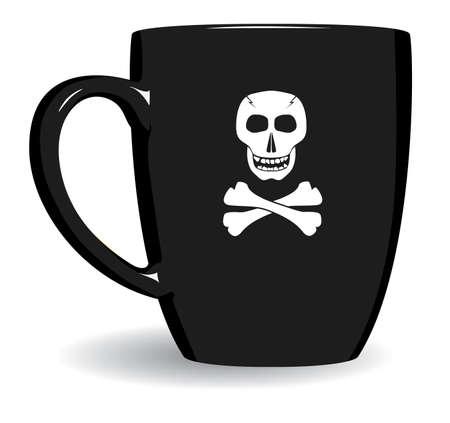 Black mug is terrible. Fun. Vector illustration. Illustration